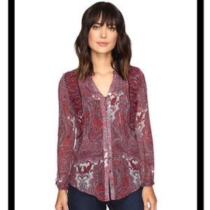 NWOT Lucky Brand Sheer Paisley Peasant Blouse Sz M